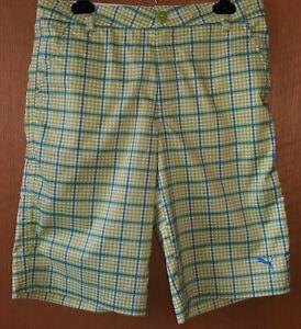 Puma Junior Size L Green/Blue Plaid Golf Shorts.