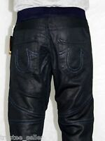 True Religion Brand Men's Fashion F Leather Coated Moto Black Jogg Jeans Pants
