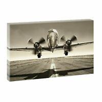 Flugzeug Retro - Wohnzimmer Deko-  Bild auf Leinwand Wandbild Kunstdruck 736