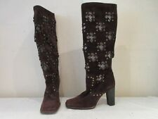 DOLCE AND GABBANA BROWN SUEDE LONG HEELED PULL ON BOOTS UK 3 EU 36 (3300)