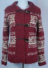 NWT - Women's Giogio Itay Red Combo Alpaca Wool Nordic Cardigan Sweater - Sz M