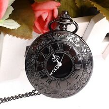Creative Vintage Antique Steampunk Black Quartz Necklace Pendant Pocket Watch WT