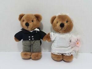 "Vtg Dakin Nature Babies 7"" Plush Wedding Bride Groom 2 Teddy Bears Stuffed Toys"