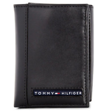 Brand New Genuine Leather TOMMY HILFIGER Mens Black Cambridge Trifold Wallet
