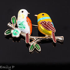Love Birds Brooch Gold Plated Enamel Badge Pin Ladies Jewellery
