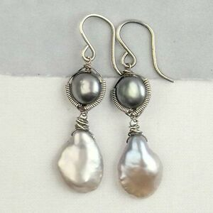 Lustrous All Nacre Keish Petal PEARL & Platinum Button PEARL Earrings Sterling S