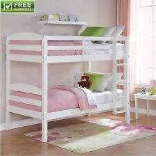 Bunk Bed Twin Size White Convertible Space Saving Solid Wood Kid Furniture New!