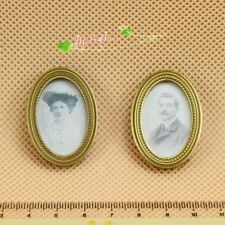 1/12 Dollhouse Miniature Vintage 19th century fresco brass frame picture photo