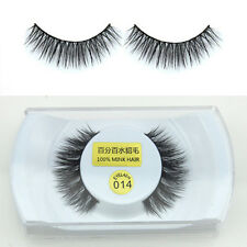 Black 100% Real Mink Soft 1cm Long Natural Thick False Eye Lashes Eyelashes New