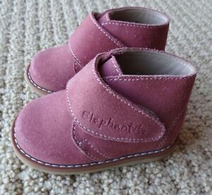 ELEPHANTITO BABY GIRL Pink Soft Suede Leather Desert Bootie Boot 4 EU 19 $59