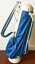 Rare Vintage Leather Craft Masters Golf Carrier Bag Blue White 6 Dividers Retro