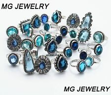 925 Sterling Silver Plated Rings Mga-25 5 Pcs Lot Mix Blue Topaz Gemstone