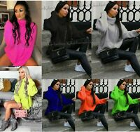 Womens Ladies Chunky Knitted High Polo Roll Over Neck Oversize Jumper Dress Top