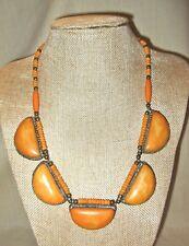 Vintage Tribal Necklace, Orange Dyed Bone Disks & Beads, Old Barrel Clasp Silver
