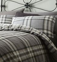Catherine Lansfield Kelso Easy Care Duvet Cover Set Charcoal S/D/K