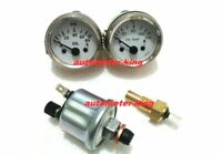 """2"""" / 52mm Electrical Oil Pressure and Oil Temp Gauge with senders - White chrome"""