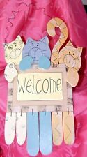 3 Kitty Cats Hand Painted Wood Welcome Sign Farmhouse Decor Pyewacket Totem