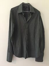 A39 SAVILE ROW Black & Grey Striped Double Cuff 100% Cotton Shirt Size 15""