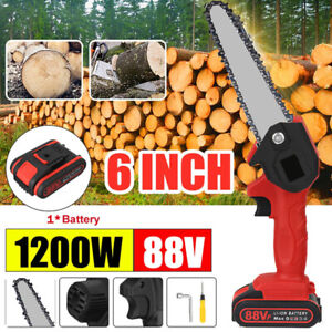 """6"""" Mini Electric Chainsaw 88V Battery Powered Wood Cordless Cutter Rechargeable"""