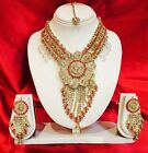 Bollywood Indian Bridal Necklace Earrings Tikka Jewellery Gold Pink White J83