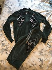 Lipsy Khaki Green Floral Embroidered Velour Loungewear Trousers Jacket Tracksuit