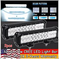 2X 12inch 72W CREE Led Work Light Bar Flood Spot SUV Offroad Boat Driving 4WD 20