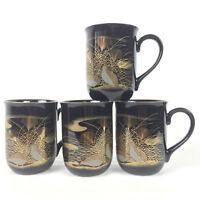 Otagiri Coffee Cup Mug Tea Black Gold Trim Quail Pattern Lot of 4 Made In Japan