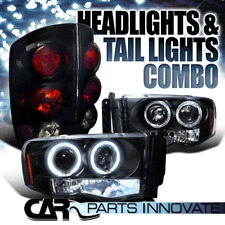 03-05 Ram 1500 2500 3500 Halo Projector LED Headlights+Glossy Black Tail Lamps