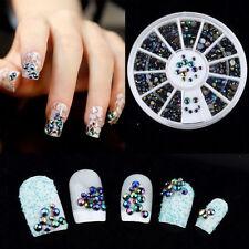 hot 3D Nail Art Tips Crystal Glitter Rhinestone Pearl Decoration+Wheel one C4
