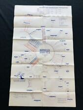 SABENA AIRLINE Art Deco TIMETABLE POSTER 1949 Route Map Schedule Brochure