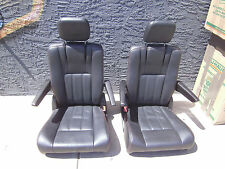 BLACK LEATHER 2 BUCKET SEATS red stitched Jeep Hotrod Bus Van Boat Classic Truck