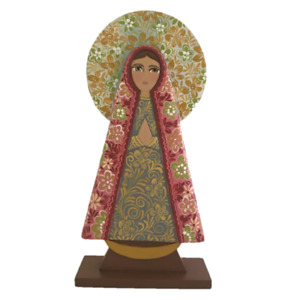 Virgin Mary - Holy mother of God - Wood statue - Floral decoration - Hand made