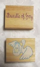Stork with Baby Rubber Stamp Wood Mounted Bundle of Joy Lot of 2