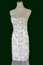 New Jovani 88087 Genuine White Beaded Wedding Bridal Formal Women Party Gown 10