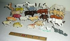 24 Vintage Hard Plastic Toy Farm Animal Lot Hong Kong Horse Cow Sheep Pig Duck