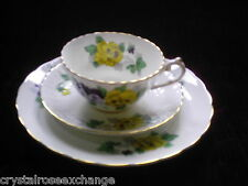Victoria PANSY Tea Cup,Saucer & Salad/Dessert Plate Set - Made in England-Lovely