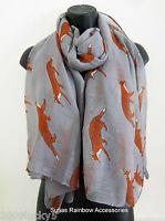 FOX Print Scarf Celebrity Casual Animal Fashion Scarves Large Shawl Brown Wrap