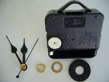 CLOCK MECHANISM QUARTZ LONG SPINDLE. 48mm BLACK HANDS