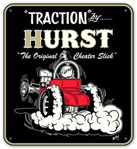"Traction By Hurst Cheater Slicks Metal Sign - 20"" x 18"" Gasser Drag Hot Rat Rod"