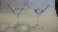 PAIR OF CLEAR MARTINI GLASSES WITH STOLI LOGO