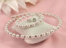 White Faux Pearl & Strass in Cristallo GIROCOLLO COLLANA, Orecchini & Bracciale Set
