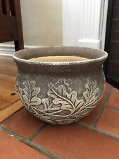 New Brown Leaves Ceramic Plant Holder Flower Pot, Made in Vietnam