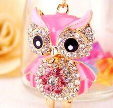 Enamel Charm Betsey Johnson Pendant Jewelry Rhinestone Owl golden Chain Necklace