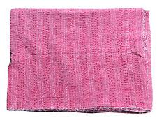New King Kantha Quilt Stonewash Cotton Bedspread Bedding Reversible Blanket Pink
