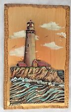 """MuLticolor 6X9.5"""" Wood 3-D Inlayed Carved Light House Art - NADEAU Artist"""
