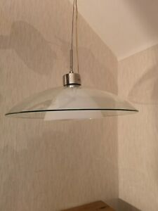 Poole Lighting Ltd Large Clear & White Glass Dome Ceiling Light Silver Fixings
