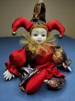 Vintage GANZ #EX4650 Red Gold Porcelain Head & Hands Jester Doll