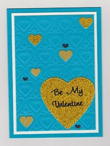 Blank Handmade Greeting Card ~ BE MY VALENTINE with HEARTS ON EMBOSSED HEARTS