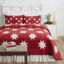 KENT 3pc King QUILT SET : COUNTRY CABIN RED CHRISTMAS STAR CREAM PATCH LODGE