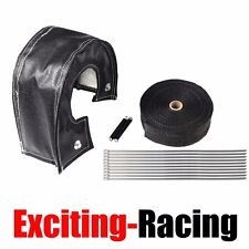 "T4 Turbo Heat Shield Blanket Cover + 2"" 50FT Exhaust Header Wrap Tape Black"